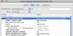Xcode Target Build Configuration